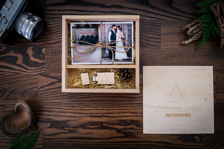 wedding photographer wales wooden usb box