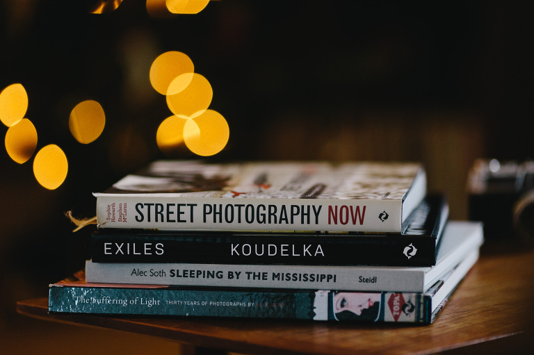 selection of photo books on a table
