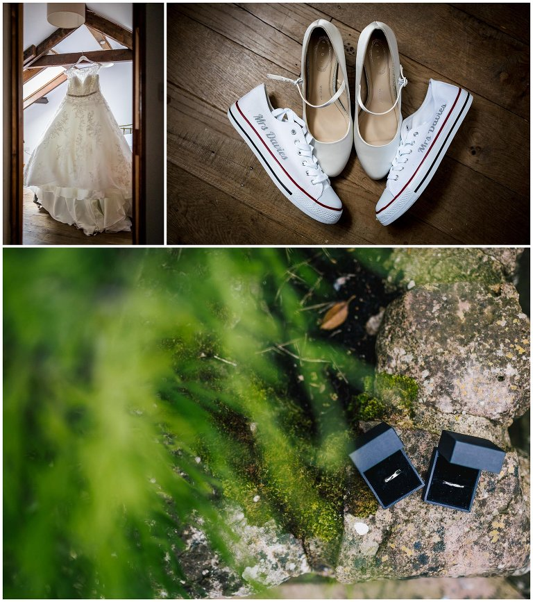 wedding dress and shoes, rings wedding photographer south wales