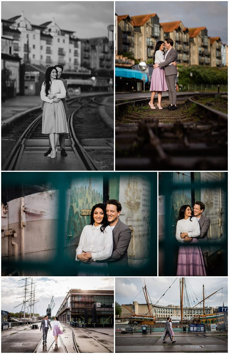 pre-wedding photoshoot in wapping wharf in bristol