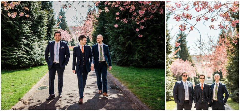 Groom and groomsmen in Alexandra gardens in Cardiff for a wedding.