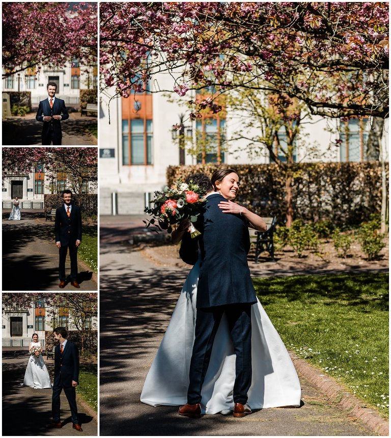 First look wedding photography in Alexandra gardens in Cardiff.